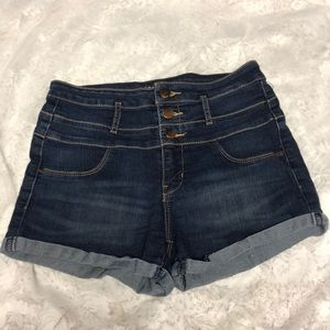 dark high-waisted denim shorts